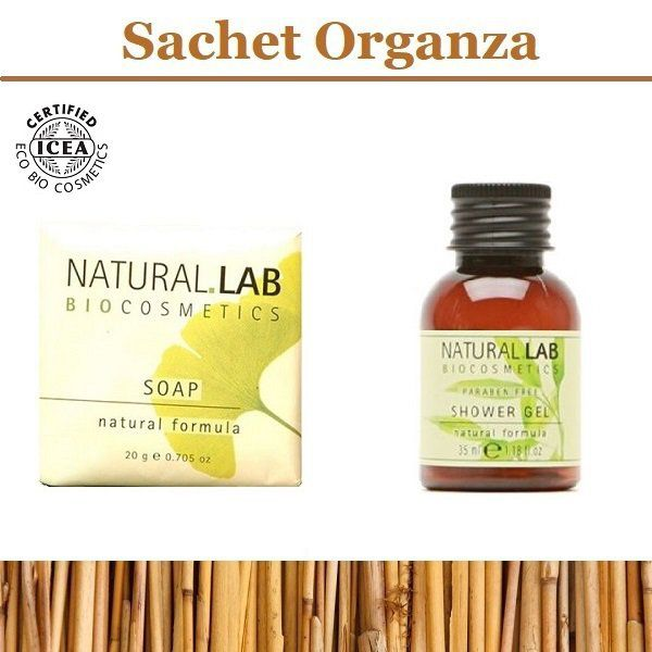 Natural Lab savon d'invité 20g + gel douche 30ml - Sac en organza