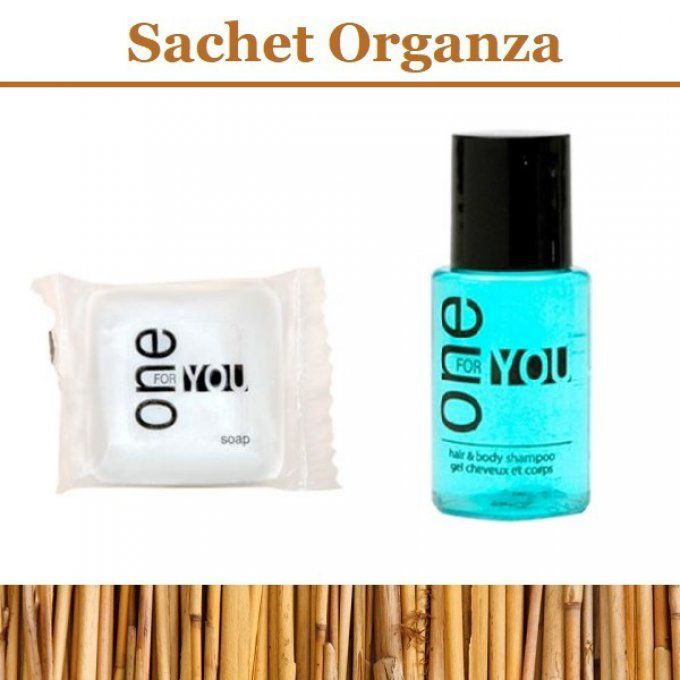 One for You savon d'invité 15g + gel douche 2en1 20ml - Sac en organza